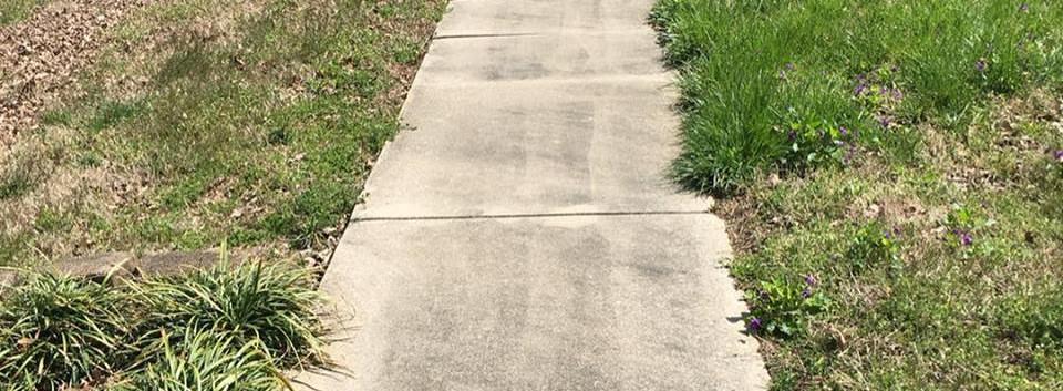 Power Washing Sidewalk: Before