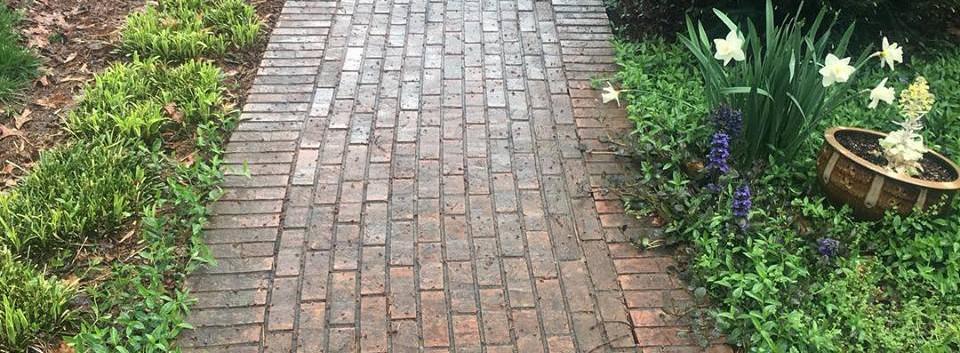 Power Washing Brick Walkway: Before
