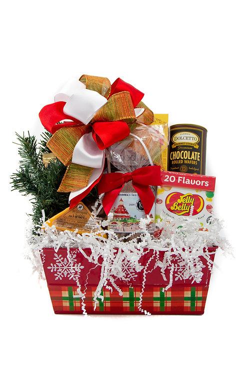 Holiday Plaid Gift Basket (Metal)
