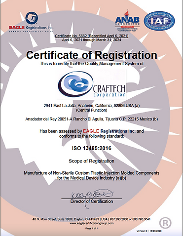 Craftech 13485:2016 Certification