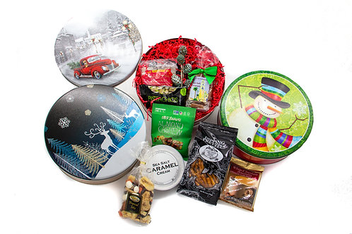 Round Holiday Tins (Large) 3 designs