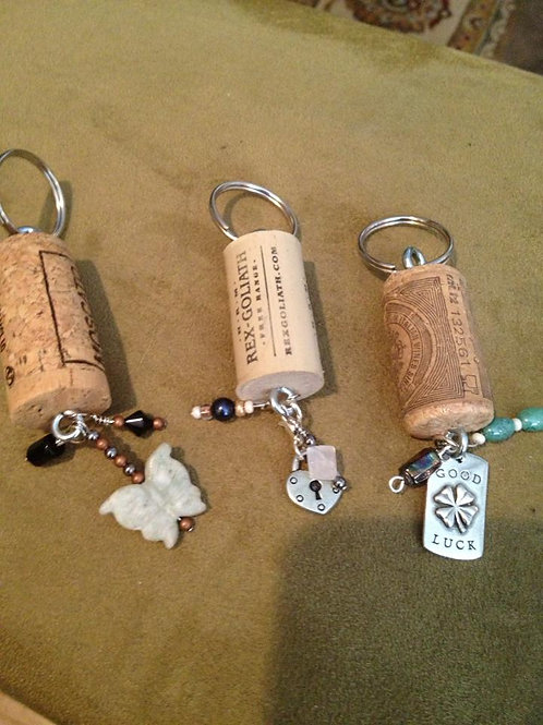 Upcycled WINE BOTTLE CORK keychains