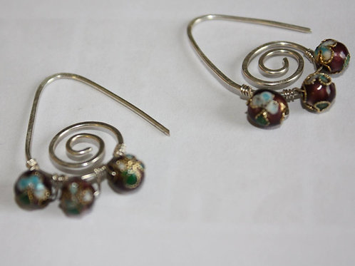 Swirl and Stone Earrings