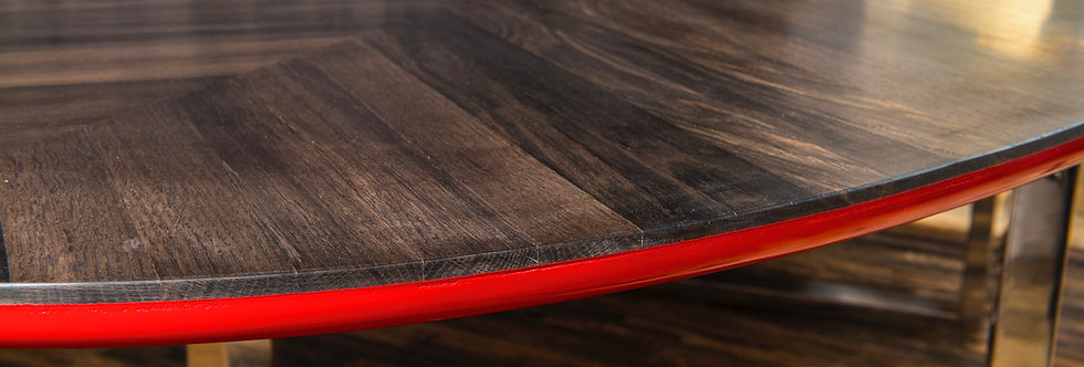 "Bog Oak Table ""Ferrari Rosso"""