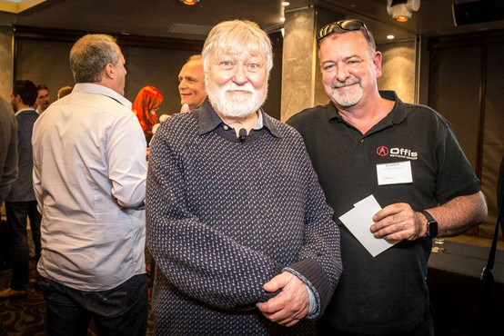 eClub XMas Party event - Ric with special guest speaker Ron Cobb a Hollywood creative legend who contributed conceptual design to films: Star Wars, Back to the Future, Alien, Aliens, Close Encounters, The Abyss, Total Recall, True Lies, Firefly etc.