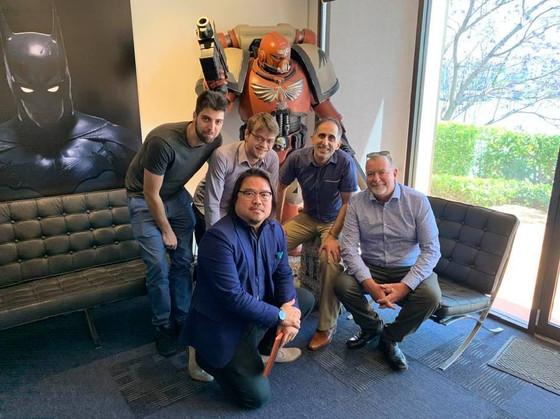Ric Holland with Visospace team at Plastic Wax Studios. Extreme Digital Ventures