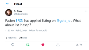 DJ applies for FSN to be listed on Gate.io