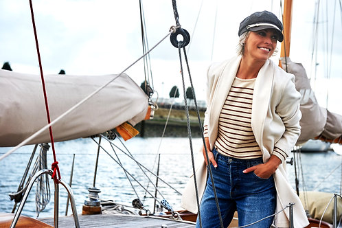 Sweater and Stripes Marine Camel