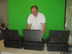 setting up laptops