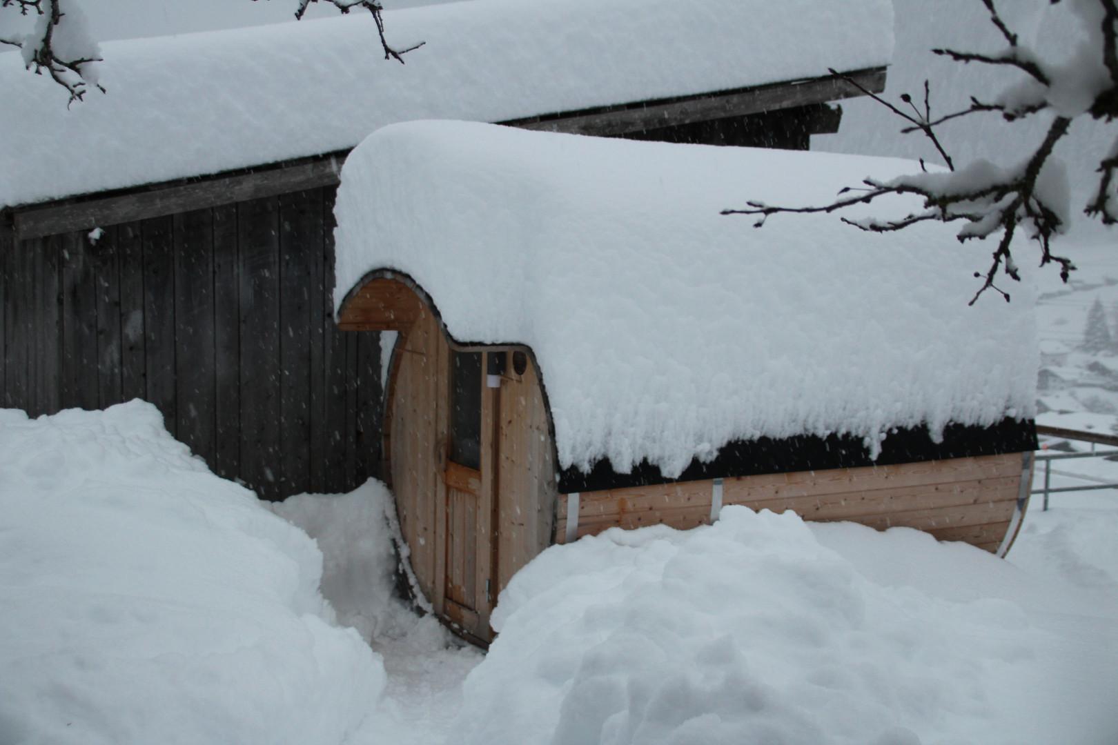 Außenansicht Sauna Winter