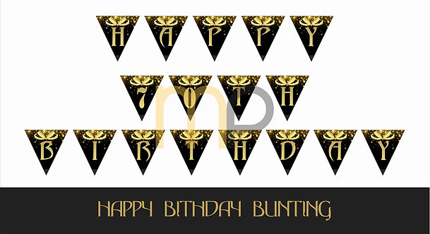 Black and Golden Milestone Birthday / Anniversary