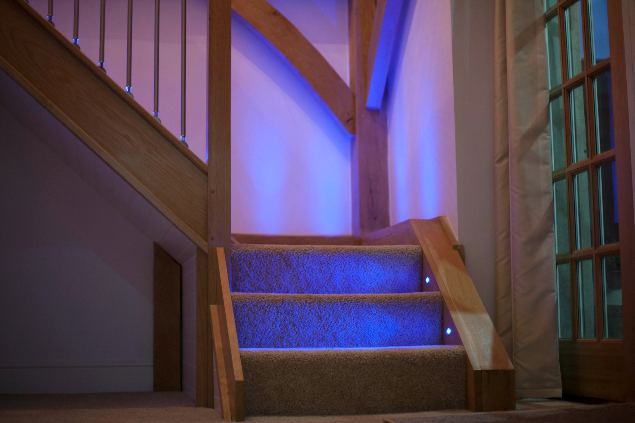 Blue LED lighting up staircase