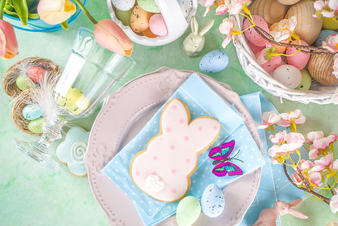 Festive Easter table setting with tradit