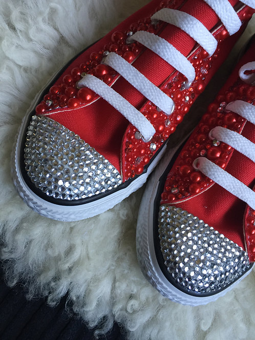 Youth Blinged Red Converse