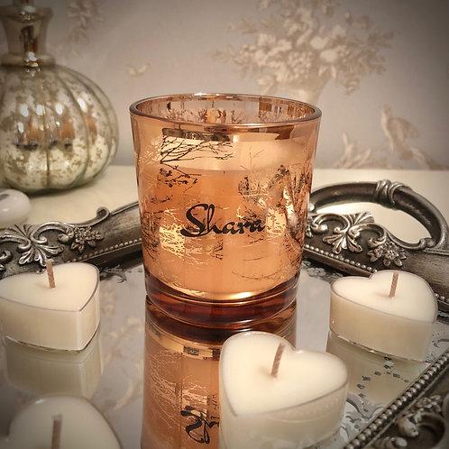 Gift Set - Small Glass 'Trees' Candle + Heart Tea Lights