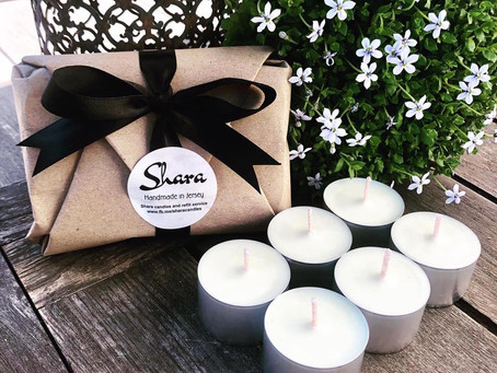 Shara tea lights packaged up with some lovely ceramic tea light holders from The Gooseberry Bush