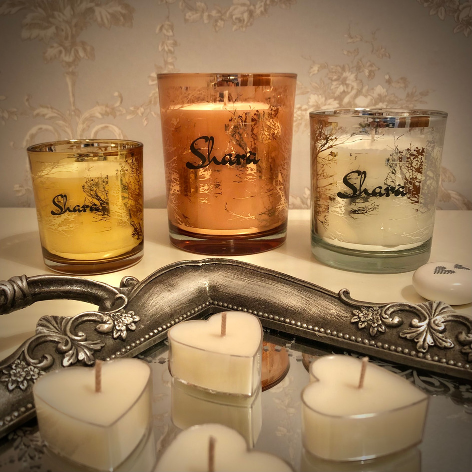 Glass candles available in 5 Spring and Summer scents.