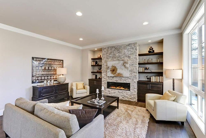 Newly painted living room in neutral colours.
