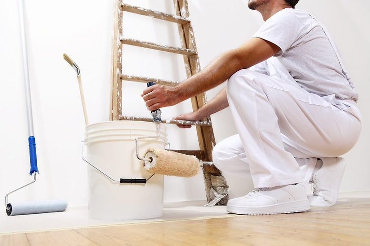 Painting contractor at work