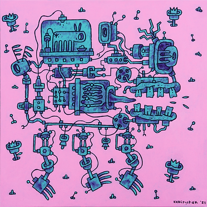 Makine-01, tuval üzerine akrilik