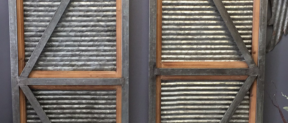 Metal and wood vintage inspired shutters