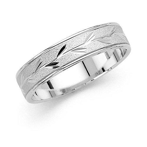 14k White Gold Men's 5-mm Satin Finish Leaf Design Easy Fit Wedding Band