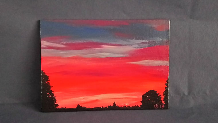 Sunset - 5x7in acrylic painting