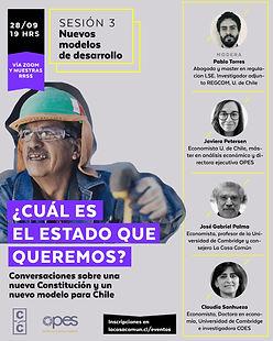 Afiche webinar con Pablo Torres, Javiera Petersen, José Gabriel Palma y Claudia Sanhueza