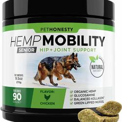PetHonesty Senior Hemp Mobility Chews For Dogs