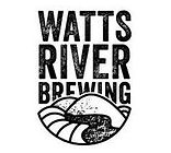 Watts-River brewing logo. mountains with a river winding through