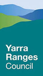 Yarra Ranges Council logo Blue and green mountains with the words Yarra Ranges Council in white