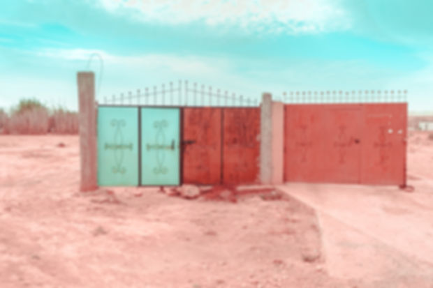 Gates in the middle of Morocco desert in Marrakech