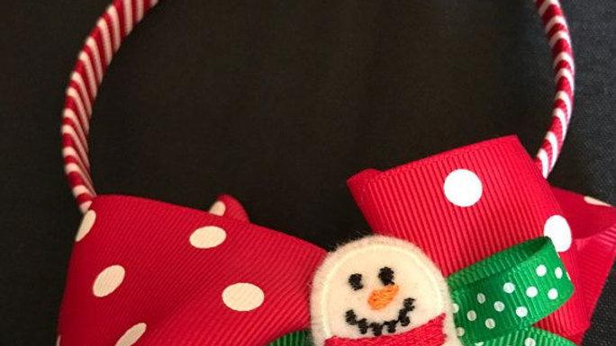Adorable Christmas Headband with Polka Dot Bows and a Snowman
