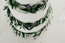 Lavender and Leaves Wedding Cake