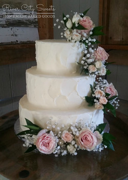Textured Buttercream and Floral Cake