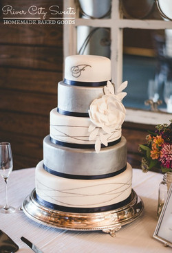 Silver White and Navy Wedding cake