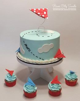 Paper Airplane Cake and Cupcakes