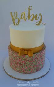 Gold Baby Shower Cake