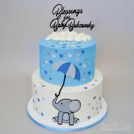 Elephant Umbrella Baby Shower Cake
