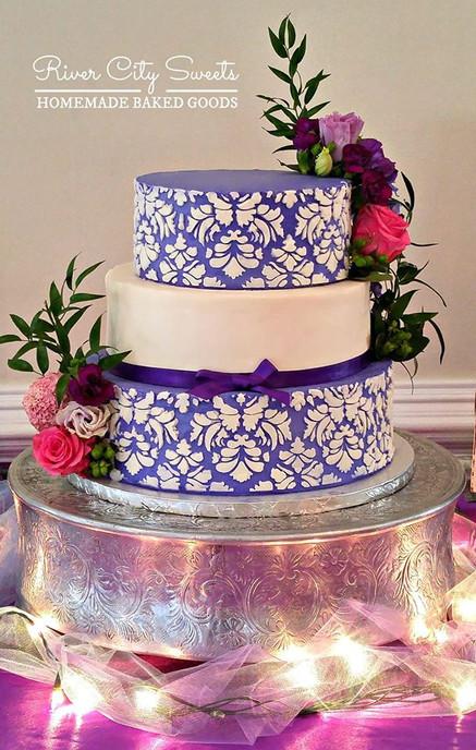 Purple and White Damask Wedding Cake