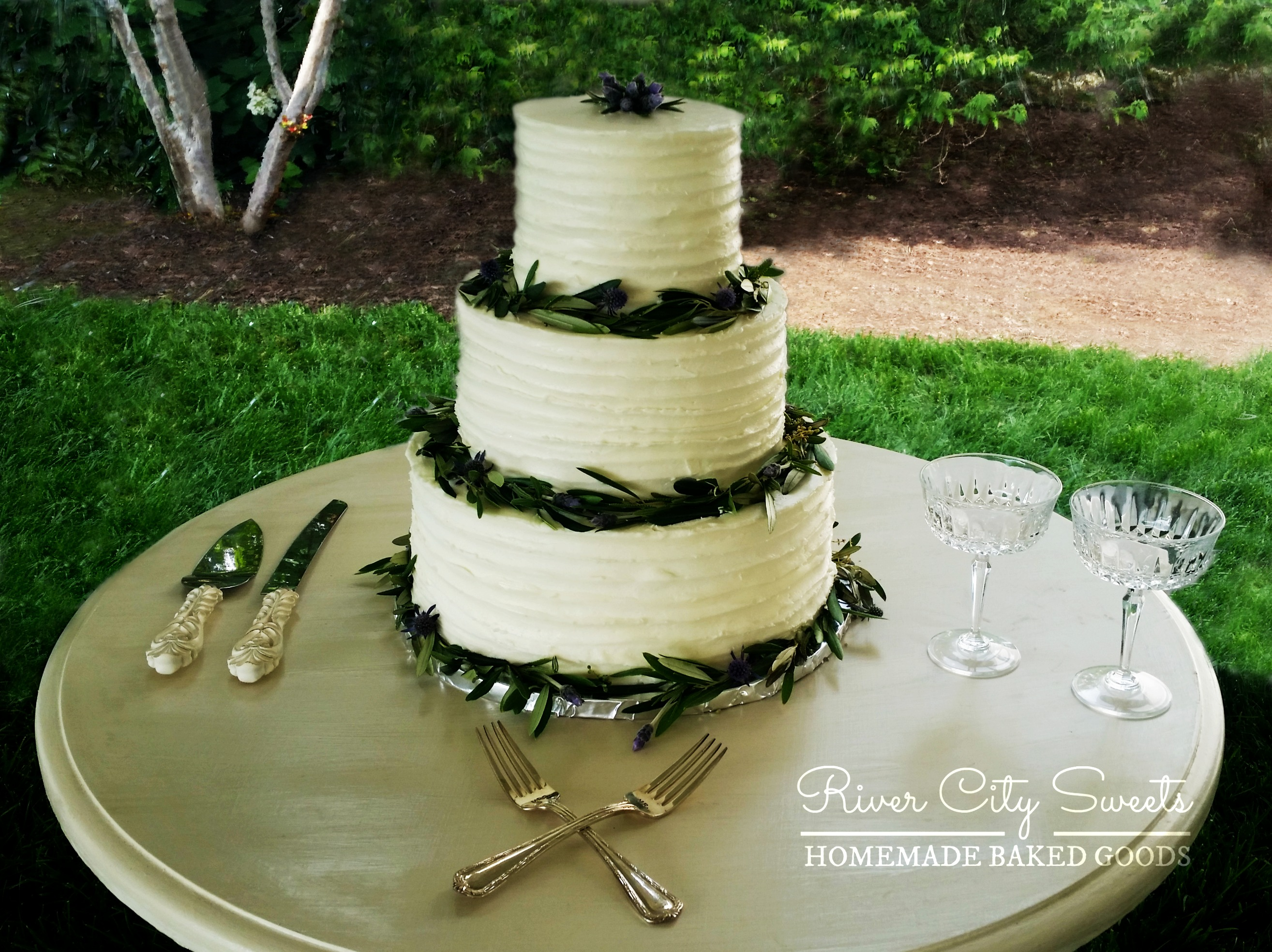 Rustic Buttercream and Greenery Cake