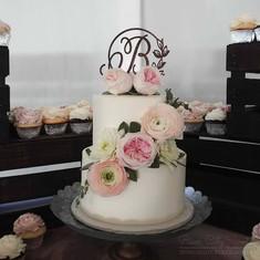 Blush Floral Wedding Cake