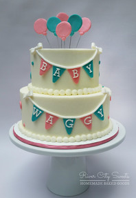 Teal and Pink Baby Shower Cake