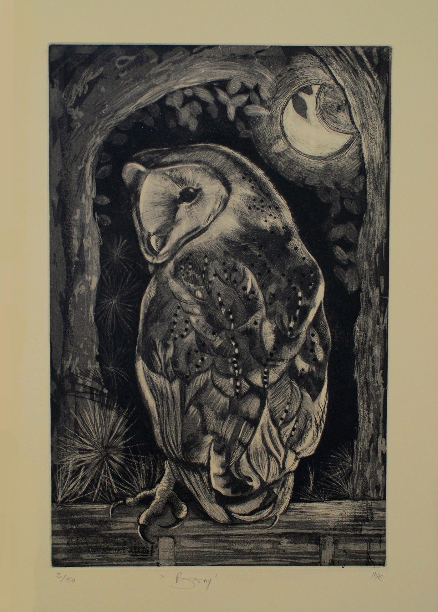 Barn Owl Etching
