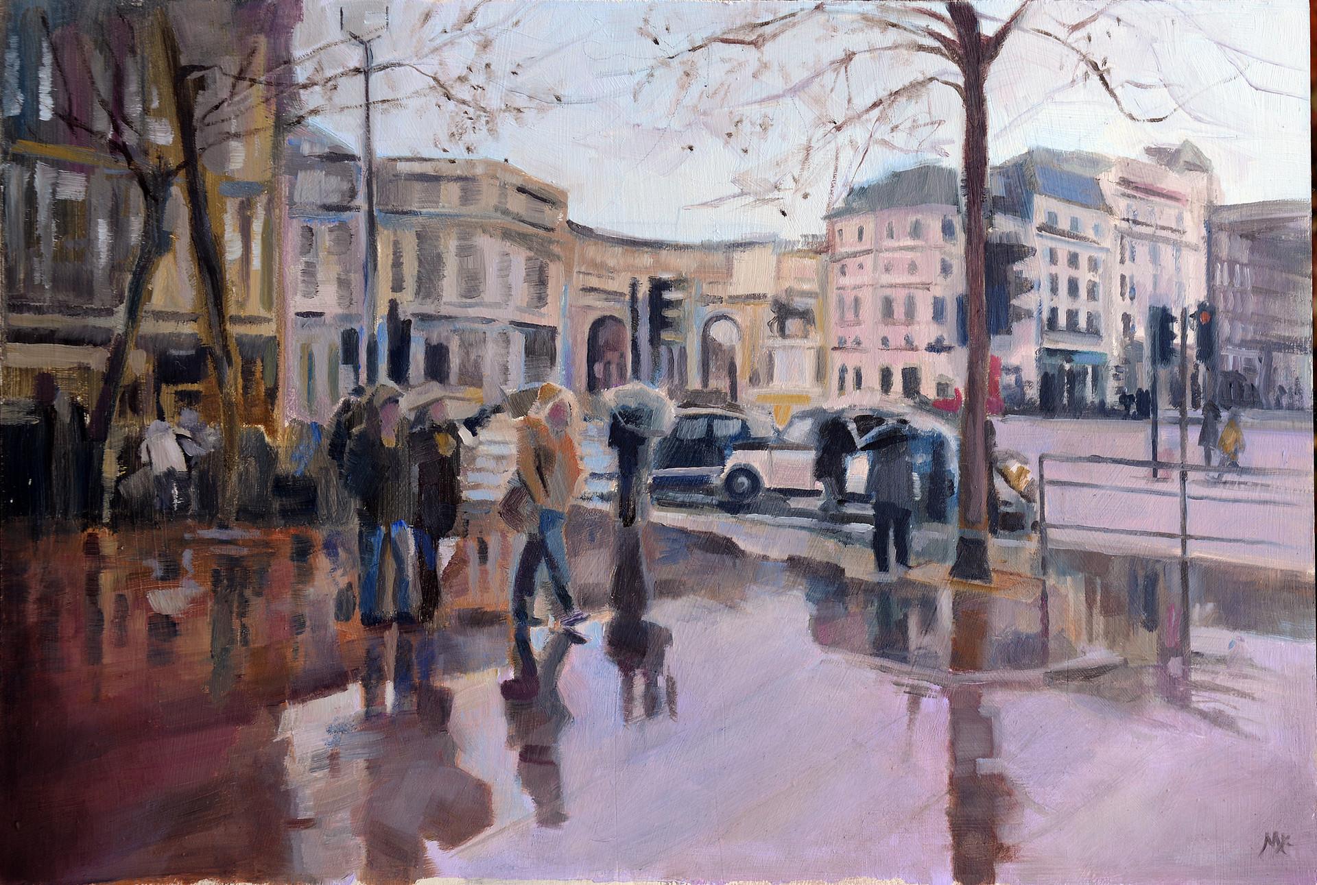 Trafalgar Square in rain
