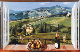 Mural of a window opening on the a scene of Provence