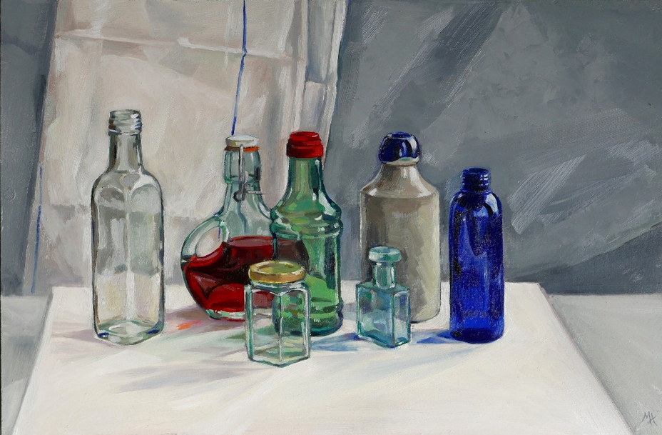 Coloured glass and pottery