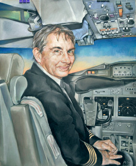 Pastel portrait of a pilot behind the controls of a Boeing Business Jet