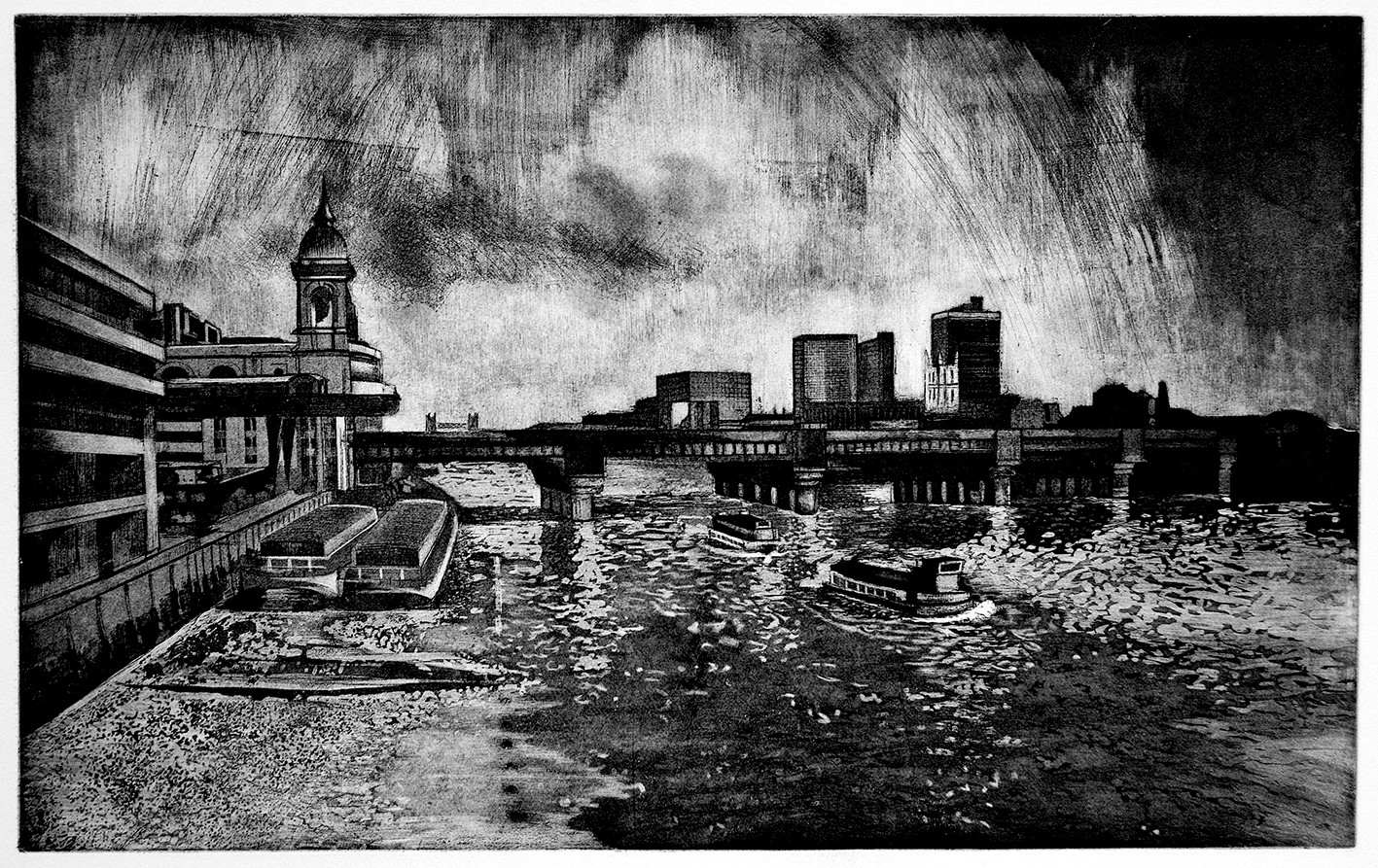 Cannon Street Railway Bridge Etching