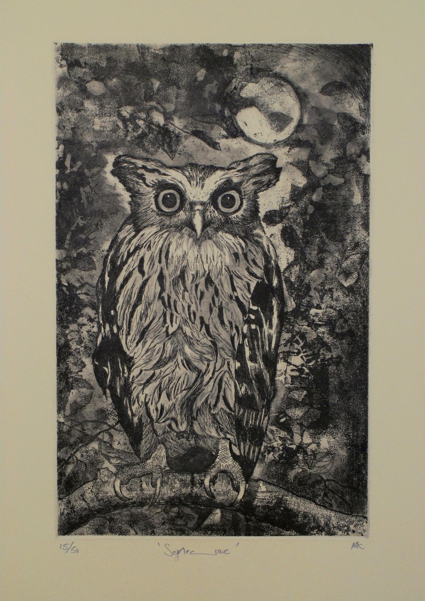 Eagle Owl Etching